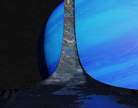 3D Black rotating space habitat with green bleu gas giant