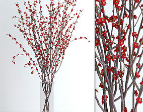 vase 3D Prunus Red Blossom