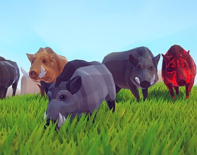 Poly Art Boars 3D asset animated