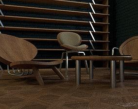 Wooden Chair dinner 3D
