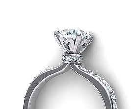 Classic 1CT Engagement ring Solitaire ring 3dmodel