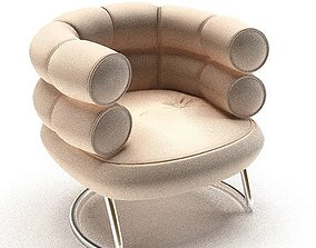 Round Modern Leather Armchair 3D model