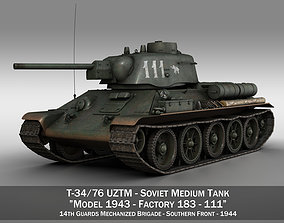 T-34-76 UZTM- Model 1943 - Soviet tank - 111 3D
