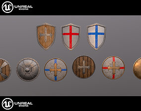 3D model Medieval shields collection