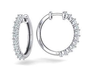 Sparkling diamond Hoop earrings 20mm size 3dmodel