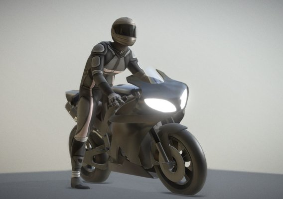 Motorbike and rigged driver