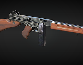 3D model M1A1 Thompson submachine gun - 4 different 3