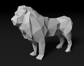 low poly lion 3D printable model leo