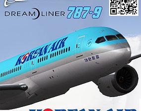 Boeing 787-9 Korean Air livery 3D asset