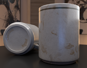 Used Dirty and Clean Porcelain Teacup 3D model