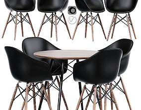 Modern Cross Leg Dining Table Chair 3D model