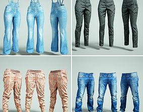 Trousers Collection Jeans Salopet 3D asset