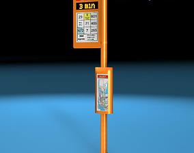 Bus stop pole 3D
