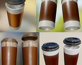 3D model Coffee To Go Cup Pack - Gameready - PBR Textures