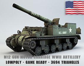 3D asset Low Poly M12 Gun Motor Carriage