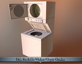 PBR Washer-Dryer Combo 3D asset VR / AR ready