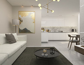 kitcen and living room With item 3D model animated