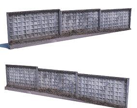 Concrete fence scan 4 3D asset