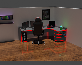 controller Gaming room 3D model low-poly