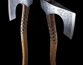 3D model low-poly viking axe