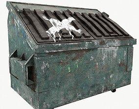 3D asset Trash can old