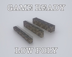 Granite Pavement Side Stones Game Ready 3D asset
