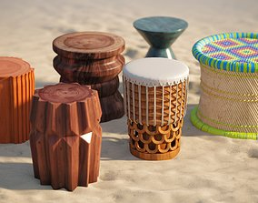 3D model Hawaiian style tables