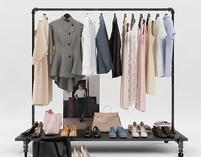set 3D model Womens and mens wardrobe