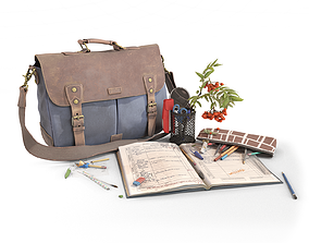Canvas Leather Bag and School Stationery 3D