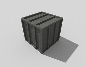 low poly metal crate 3D model