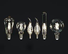Six incandescent lamps multispiral vintage LED 3D model 1
