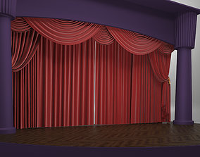 3D model THEATER SCENE WITH RED CURTAINS