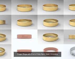 3D model Finger Rings with Fruit of Holy Spirit Gold