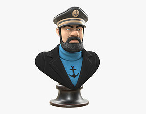 3D model low-poly Captain Haddock Bust
