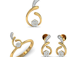 Rhino 3D CAD File Jewelry Set Ring Pendant Earring 2