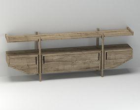 Light Wooden Console 3D