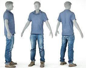Male Casual Outfit 51 Shirt Jeans Footwear 3D asset