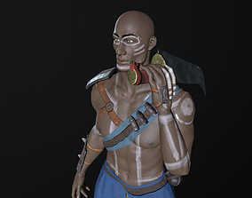 3D asset African warrior