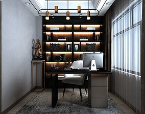 Home Office Design with Various Figurines 3D
