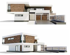 Modern villa 3D glass