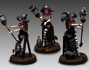 3D print model Fantasy World Cafe Witch Girl Anime Figure