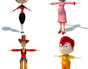 4 Cartoon Characters 3D model
