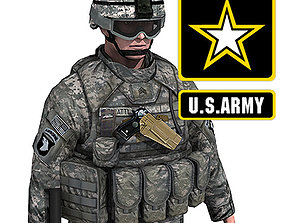 US Army Infantry with IOTV armor 3D asset