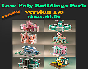 Low Poly City Pack 3D model realtime