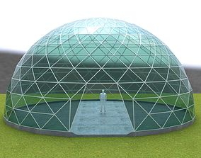 3D asset Dome triangular glass structure-panels 1