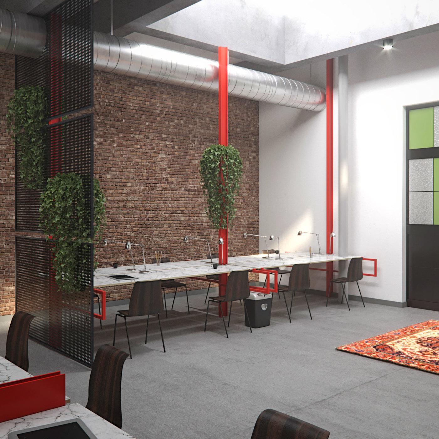 3d render coworking space