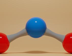 3D asset Nitrogen Dioxide Molecule NO2