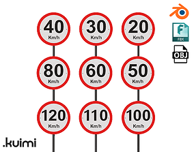 Road Sign - Speed Limit Pack - km h - 002 3D model