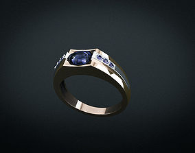 3D print model Man ring with sapphire