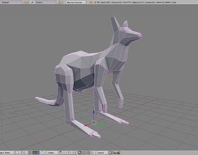 Paper Kangaroo 3D asset